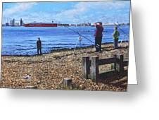 Winter Fishing At Weston Shore Southampton Greeting Card