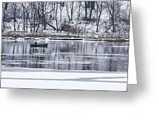 Winter Fishing - Wisconsin River Greeting Card