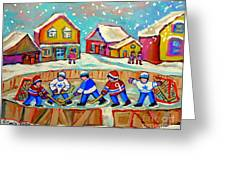 Winter Fun At Hockey Rink Magical Montreal Memories Rink Hockey Our National Pastime Falling Snow   Greeting Card