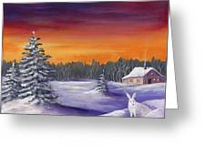 Winter Hare Visit Greeting Card