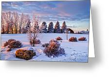 Winter In Pink Color Greeting Card
