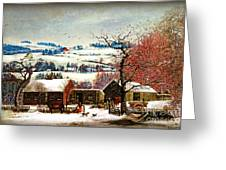 Winter In The Country Folk Art Greeting Card