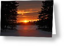 Winter Lake Sunset Greeting Card by RJ Martens
