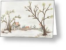 Winter Landscape With Cottage II Greeting Card by Christine Corretti