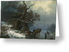 Winter Landscape With Figures On A Frozen River Greeting Card by Heinrich Hofer