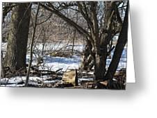 Winter Log Greeting Card