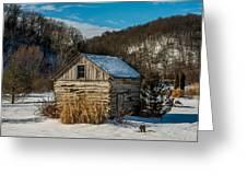 Winter Logcabin Greeting Card