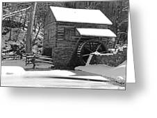 Winter Mill In Black And White Greeting Card