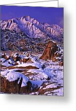 Winter Morning Alabama Hills And Eastern Sierras Greeting Card