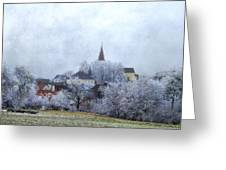 Winter Morning In My Village Greeting Card