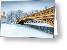 Winter Morning With Bow Bridge Greeting Card