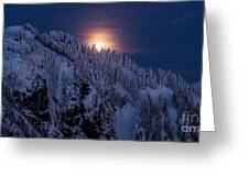 Winter Mountain Moonrise Greeting Card