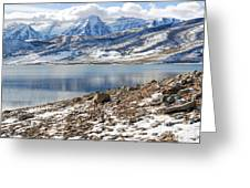 Winter Mt. Timpanogos And Deer Creek Reservoir Greeting Card