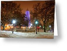 Winter Night-city Lights-and Christmas Lights At The Washington Monument Greeting Card