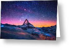 Winter Night High Peak Greeting Card