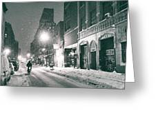 Winter Night - New York City - Lower East Side Greeting Card