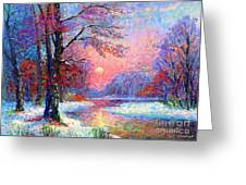 Winter Nightfall, Snow Scene  Greeting Card