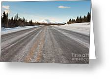 Winter On Country Road In Taiga And Snowy Mountain Greeting Card