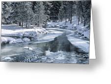 Winter On The Firehole River - Yellowstone National Park Greeting Card by Sandra Bronstein