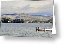 Winter On The Lake Greeting Card by Susan Leggett