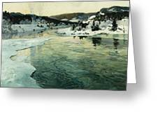 Winter On The Mesna River Near Lillehammer Greeting Card by Fritz Thaulow