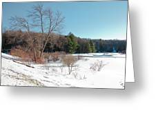 Winter On The Moose River - Old Forge New York Greeting Card