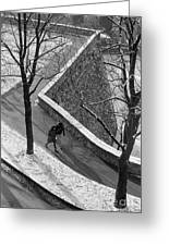 Winter On The Walls Of Bergamo Greeting Card