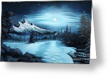Winter Painting A La Bob Ross Greeting Card by Bruno Santoro