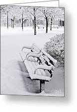 Winter Park With Benches Greeting Card