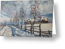 Winter Path Greeting Card by Andrei Attila Mezei
