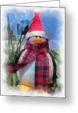 Winter Penguin Photo Art Greeting Card