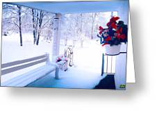 Winter Porch Greeting Card