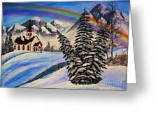 Winter Rainbow Greeting Card