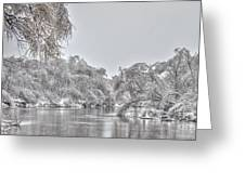 Winter River Scene Greeting Card