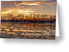 Winter River Sunrise Greeting Card