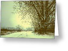 Winter Road Abstract  Greeting Card