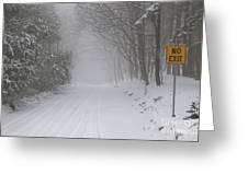Winter Road During Snow Storm Greeting Card
