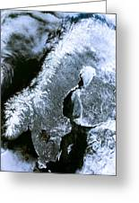 Winter Scandinavia Satellite Map Greeting Card