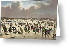 Winter Scene Circa 1859 Greeting Card by Aged Pixel
