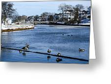 Winter Scene Jersey Shore Town Greeting Card
