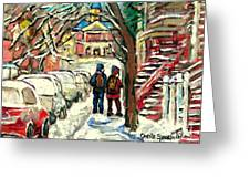 Winter Scene Painting Rows Of Snow Covered Cars First School Day After Christmas Break Montreal Art Greeting Card