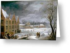Winter Scene With A Man Killing A Pig Greeting Card