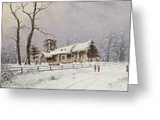 Winter Scene With Figures On A Path Near A Church Greeting Card