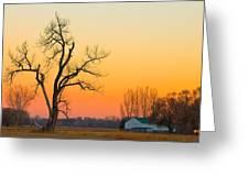 Winter Season Country Sunset Greeting Card