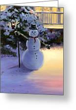 Winter Snow Man Greeting Card by Cecilia Brendel