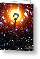 Winter Snow Storm At Night Greeting Card