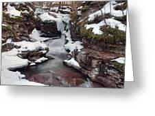 Winter Still Has Its Icy Grip On Adams Falls Greeting Card