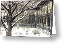 Winter Storm At The Cloisters 3 Greeting Card
