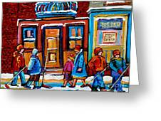 Winter Street In Saint Henri Greeting Card