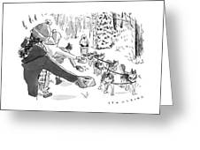 Winter Suited Volunteers Hold Out Dog Dishes Greeting Card